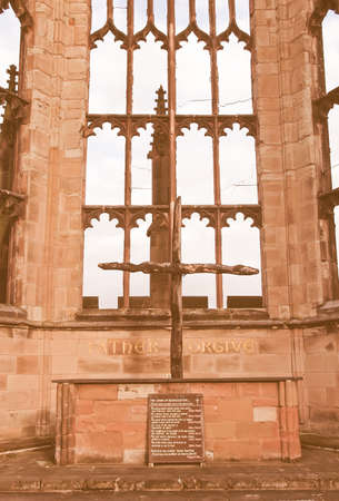 bombed: Ruins of bombed St Michael Cathedral, Coventry, England, UK vintage
