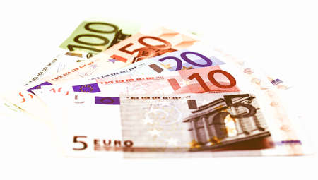 Euro banknote (currency of the European Union) - selective focus vintage Stock Photo