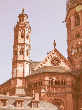 MAINZ: Mainzer Dom cathedral in Mainz in Germany vintage Stock Photo