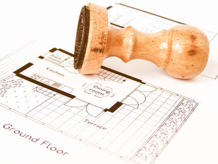 cad drawing: A picture of Technical architectural CAD drawing vintage Stock Photo