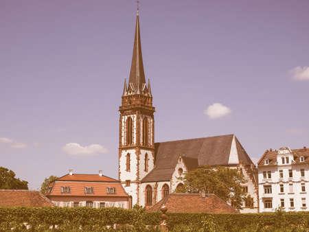 st german: St Elizabeth church in Darmstadt in Germany vintage Stock Photo