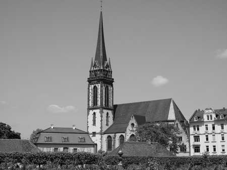 st german: St Elizabeth church in Darmstadt in Germany in black and white