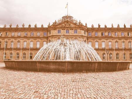 neues: Neues Schloss (New Castle) in Stuttgart, Germany vintage Stock Photo