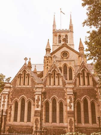 southwark: The Southwark Cathedral church, South Bank, London, UK vintage