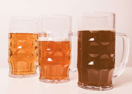 Many glasses of German beers including weiss dunkel and lager vintage Stock Photo