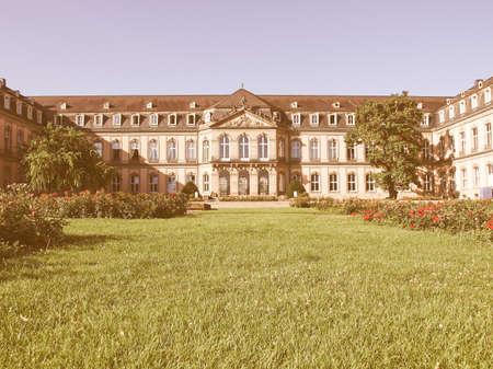 neues: Neues Schloss (New Castle) in Stuttgart, Germany vintage Editorial