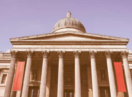 trafalgar: The National Gallery in Trafalgar Square in London, UK vintage Stock Photo