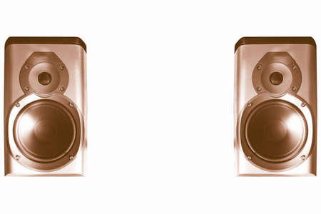 audiophile: A picture of Pair of stereo hifi speakers vintage Stock Photo