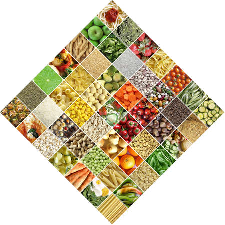 maccheroni: Food collage including 49 pictures of vegetables, fruit, pasta and more Stock Photo