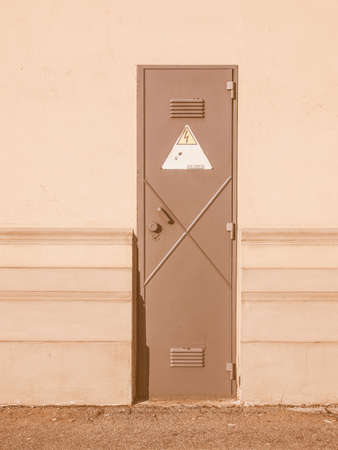 kiosk: Electrical stepdown transformer kiosk cabinet vintage Stock Photo