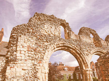 abbey ruins abbey: Ruins of St Augustine Abbey in Canterbury UK vintage