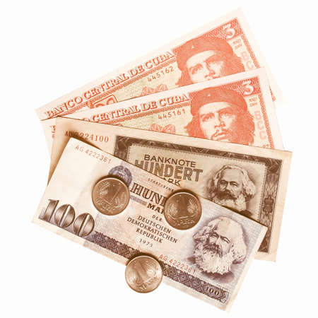 karl: Vintage banknotes with Karl Marx (from DDR) and Che Guevara (from Cuba) vintage Stock Photo