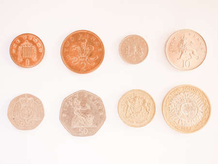 pence: Full series of Pound and Pence coins currency of the United Kingdom vintage