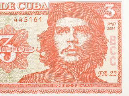 pesos: Detail of Che Guevara on a Vintage 3 Pesos banknote from Cuba vintage Stock Photo