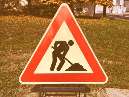 road work: Road work sign vintage