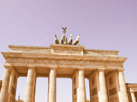 brandenburger tor: Brandenburger Tor (Brandenburg Gate), famous landmark in Berlin, Germany vintage