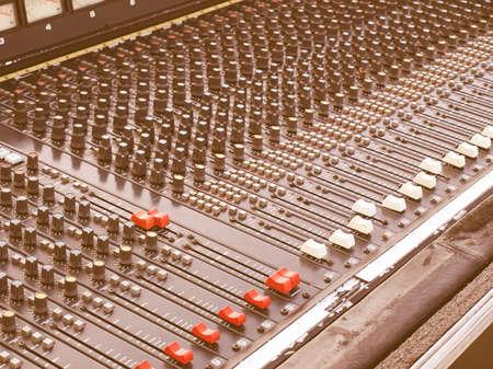 soundboard: Detail of a soundboard mixer electronic device vintage Stock Photo
