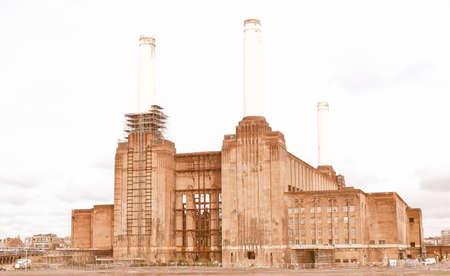 pink floyd: London Battersea powerstation, a landmark abandoned factory vintage