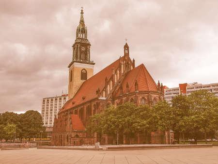 st german: Marienkirche St Mary church in Berlin Germany vintage