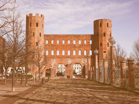palatine: Palatine towers Porte Palatine ruins of ancient roman town gates in Turin vintage