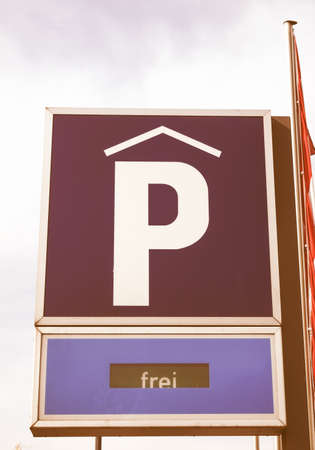 frei: A road sign for a parking area vintage Stock Photo