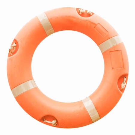 lifejacket: A life buoy for safety at sea - isolated over white background vintage Stock Photo