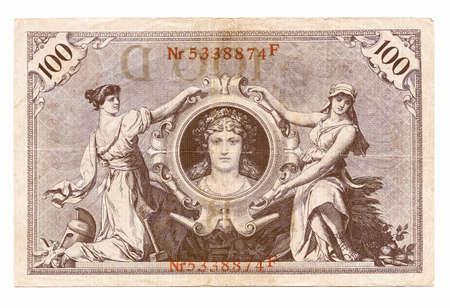 banknote: Vintage withdrawn 100 Mark banknote of the Deutsches Reich (German Empire), year 1908 vintage Stock Photo