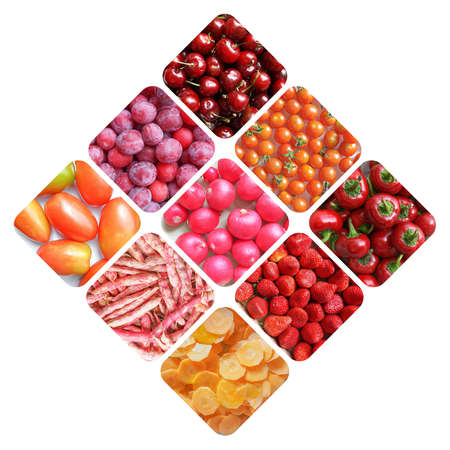 prunes: Vegetarian food collage: red fruits and vegetables including cherries, tomatoes, prunes, radish, beans, carrots