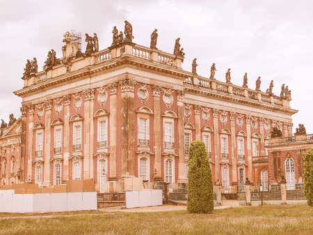 neues: Ruins of the Neues Palais new royal palace in Park Sanssouci in Potsdam Berlin vintage
