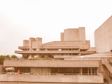 rationalist: The National Theatre iconic new brutalist architecture in London England UK vintage