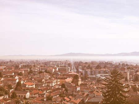 rivoli: View of the cities of Rivoli, Collegno and Turin from the Rivoli castle hill vintage Stock Photo