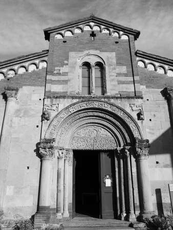abbazia: Abbazia di Santa Fede abbey in Cavagnolo, Italy in black and white