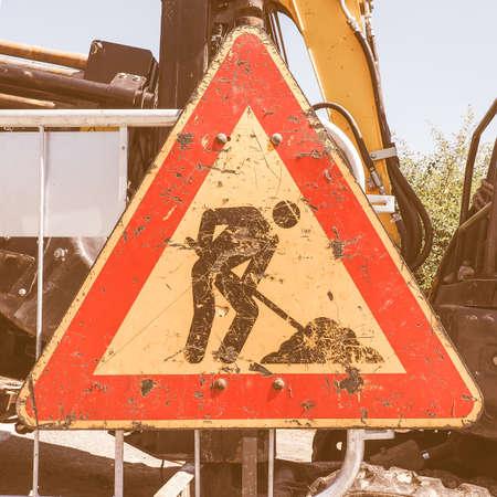 road works: Warning signs, Road works traffic sign vintage