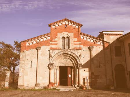 abbazia: Abbazia di Santa Fede abbey in Cavagnolo, Italy vintage