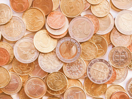 geld: Euro coins currency of the European union vintage