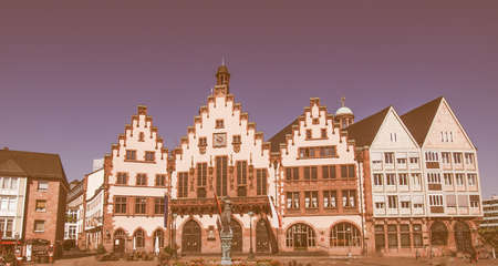 roemerberg: Roemerberg old city in Frankfurt am Main Germany vintage Stock Photo