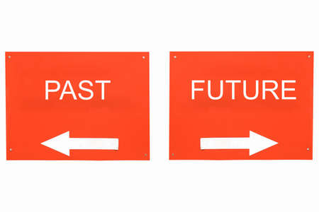 back arrow: Direction arrow sign, back arrow meaning past, forward arrow meaning future vintage