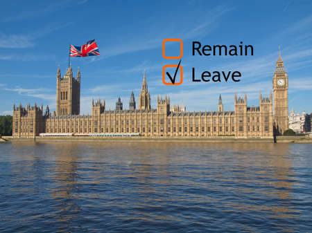 poll: June 23 referendum: Should the United Kingdom remain a member of the European Union or leave the European Union. The poll is aka Brexit meaning Britain exit Stock Photo