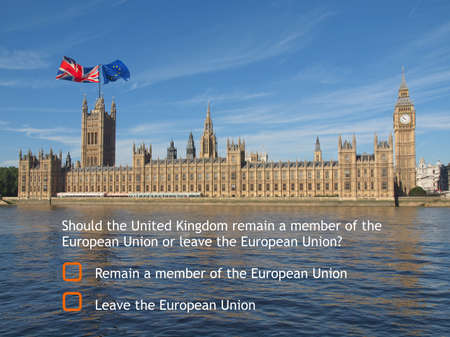 remain: June 23 referendum: Should the United Kingdom remain a member of the European Union or leave the European Union. The poll is aka Brexit meaning Britain exit Stock Photo