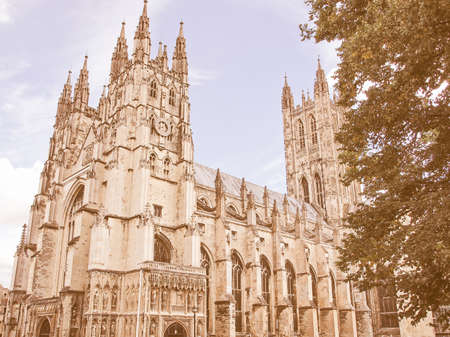 kent: The Canterbury Cathedral in Kent England UK vintage