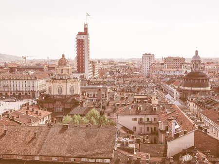 castello: Aerial view of Piazza Castello central baroque square in Turin Italy vintage Stock Photo