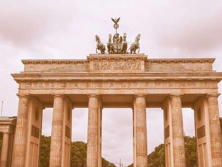 brandenburger tor: Brandenburger Tor Brandenburg Gate famous landmark in Berlin Germany vintage