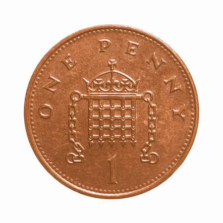 pence: Pound coin - 1 penny currency of the United Kingdom isolated over white background vintage