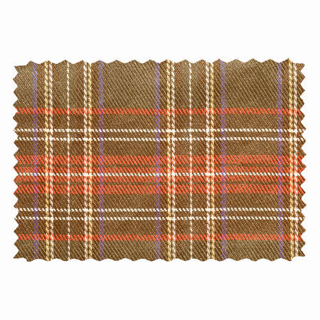 Tartan fabric swatch sample isolated over white background vintage Stock Photo