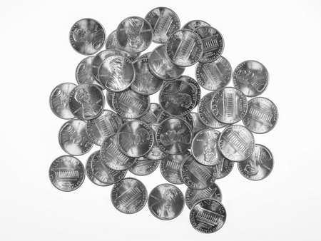 penny: Dollar coins 1 cent wheat penny cent currency of the United States in black and white
