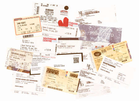 LONDON, UK - JANUARY 30, 2014: Illustrative editiorial set of vintage concert tickets including Pink Floyd, Leonard Cohen, Einstuerzende Neubauten, Depeche Mode, Ivano Fossati, John Cale, Birtwistle, Maxwell Davies, Sakamoto, The Cure, Battiato and many o