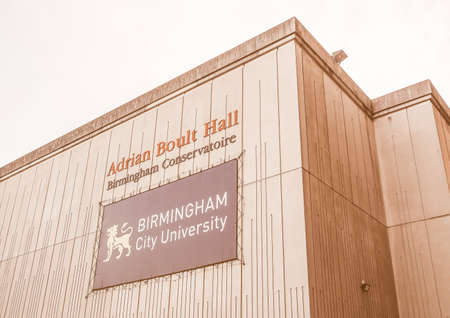 concert hall: BIRMINGHAM, UK - SEPTEMBER 24, 2015: The Adrian Boult Hall is the main concert hall of the Birmingham Conservatoire in Paradise Circus vintage Editorial
