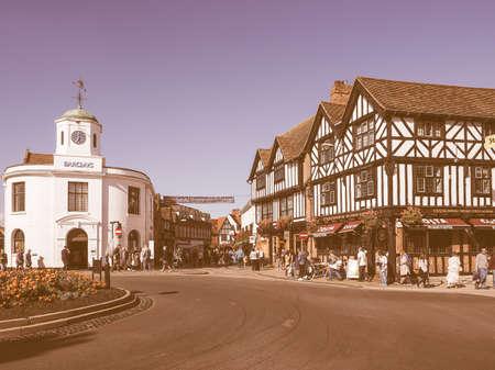 william shakespeare: STRATFORD UPON AVON, UK - SEPTEMBER 26, 2015: Tourists visiting the city of Stratford, birthplace of William Shakespeare vintage