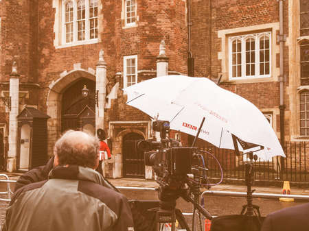 bbc: LONDON, ENGLAND, UK - NOVEMBER 30: BBC News location facilities at an outdoor live event broadcast on the occasion of the Royal Christening on November 30, 2013 in London, England, UK vintage Editorial