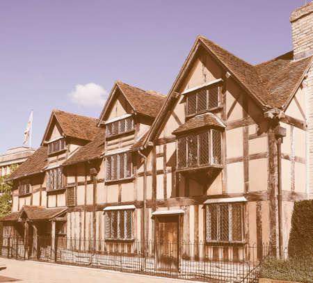 birthplace: STRATFORD UPON AVON, UK - SEPTEMBER 26, 2015: William Shakespeare birthplace vintage